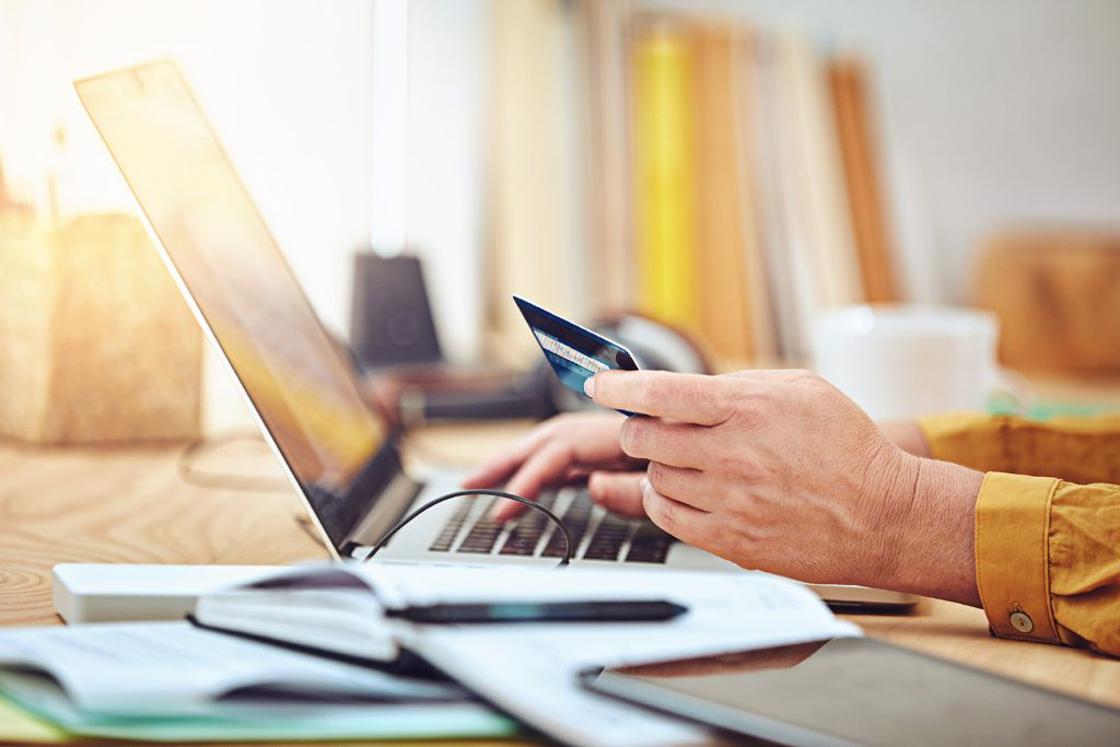 Credit scoring in the online retail segment: Completing an online purchase on a laptop.