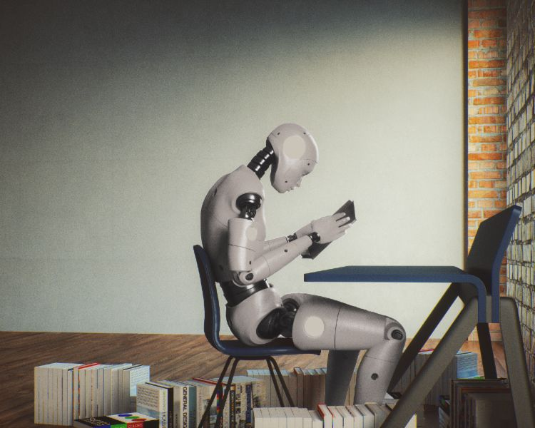 Artificial intelligence: A robot goes to school and reads books.